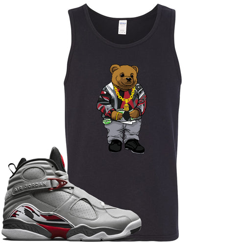 Air Jordan 8 Reflections of a Champion Sneaker Match Biggie Bear Black Mens Tank Top