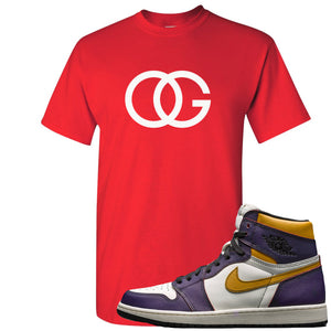 Nike SB x Air Jordan 1 OG Court Purple Sneaker Hook Up OG Logo Red T-Shirt