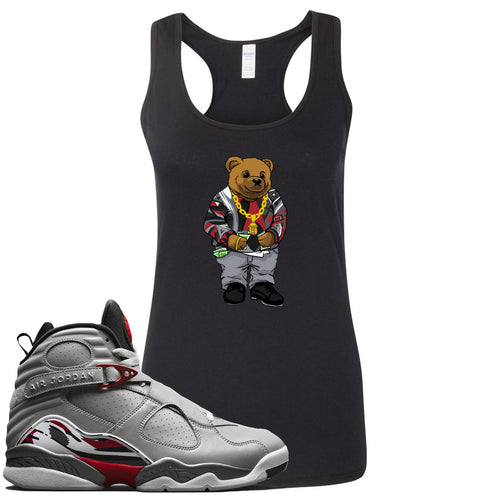 Air Jordan 8 Reflections of a Champion Sneaker Match Biggie Bear Black Womens Tank Top