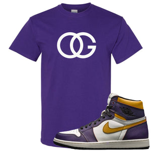 Nike SB x Air Jordan 1 OG Court Purple Sneaker Hook Up OG Logo Purple T-Shirt