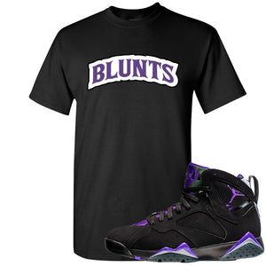 Air Jordan 7 Ray Allen Sneaker Hook Up Blunts Logo Black T-Shirt