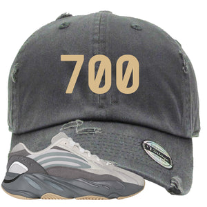 "Adidas Yeezy Boost 700 V2 Tephra Sneaker Hook Up ""700"" Dark Gray Distressed Dad Hat"