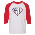 Nike WMNS Air Foamposite One USA Sneaker Match Distressed Super Logo White and Red Raglan T-Shirt
