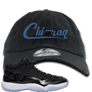 Air Jordan 11 Low IE Space Jam Sneaker Hook Up Chi-raq Black Distressed Dad Hat