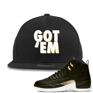 Jordan 12 WMNS Reptile Sneaker Hook Up Got Em Black Snapback