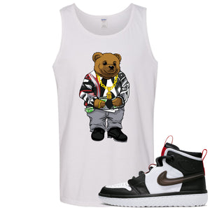 Air Jordan 1 High React White Black Sneaker Hook Up Sweater Bear White Mens Tank Top