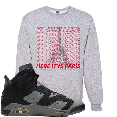 Air Jordan 6 PSG Sneaker Match Ici C'est Paris Sports Grey Sweater