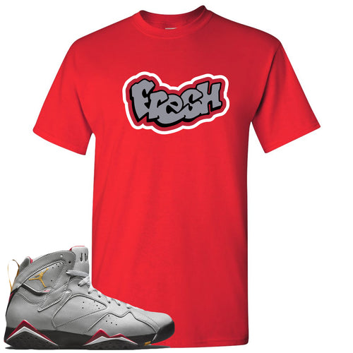 Air Jordan 7 Reflections of a Champion Sneaker Match Fresh Logo Red T-Shirt