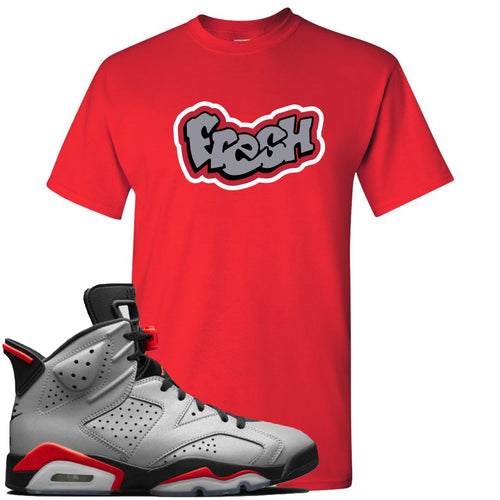 Air Jordan 6 Reflections of a Champion Sneaker Match Fresh Logo Red T-Shirt
