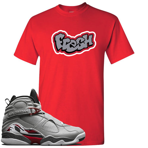 Air Jordan 8 Reflections of a Champion Sneaker Match Fresh Logo Red T-Shirt
