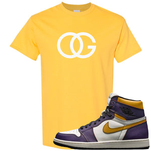 Nike SB x Air Jordan 1 OG Court Purple Sneaker Hook Up OG Logo Yellow T-Shirt