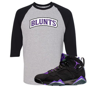 Air Jordan 7 Ray Allen Sneaker Hook Up Blunts Logo Sports Gray and Black Raglan T-Shirt