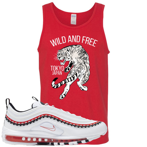 Nike Air Max 97 White University Red Sneaker Match Tiger Red Mens Tank Top