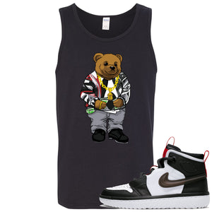 Air Jordan 1 High React White Black Sneaker Hook Up Sweater Bear Black Mens Tank Top