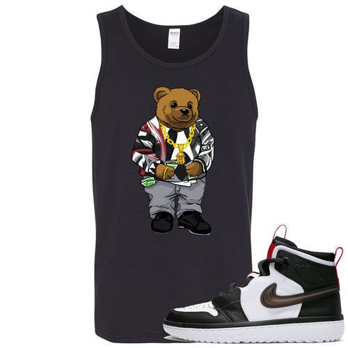 Air Jordan 1 High React White Black Sneaker Match Biggie Bear Black Mens Tank Top