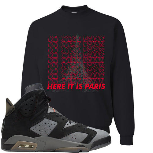 Air Jordan 6 PSG Sneaker Match Ici C'est Paris Black Sweater
