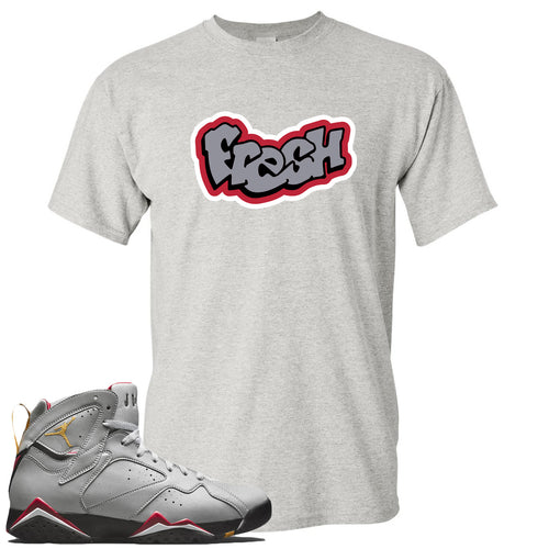 Air Jordan 7 Reflections of a Champion Sneaker Match Fresh Logo Sports Gray T-Shirt