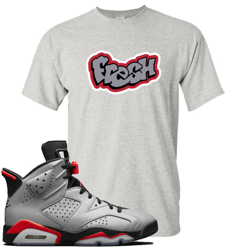 Air Jordan 6 Reflections of a Champion Sneaker Match Fresh Logo Sports Gray T-Shirt