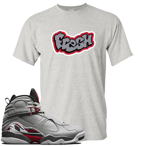 Air Jordan 8 Reflections of a Champion Sneaker Match Fresh Logo Light Gray T-Shirt