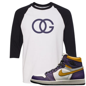 Nike SB x Air Jordan 1 OG Court Purple Sneaker Hook Up OG Logo White and Black Raglan T-Shirt
