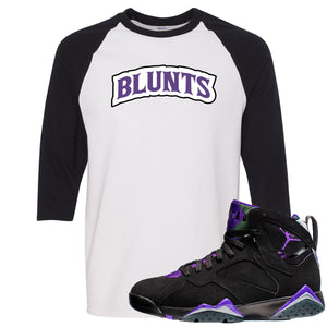 Air Jordan 7 Ray Allen Sneaker Hook Up Blunts Logo White and Black Raglan T-Shirt