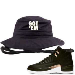 Jordan 12 WMNS Reptile Sneaker Hook Up Got Em Black Bucket Hat