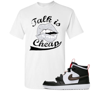 Air Jordan 1 High React White Black Sneaker Hook Up Talk is Cheap White T-Shirt