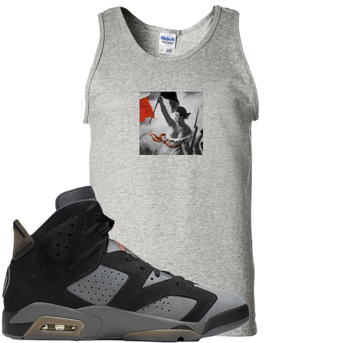 Air Jordan 6 PSG Sneaker Match Liberty Leading The People Sports Grey Mens Tank Top