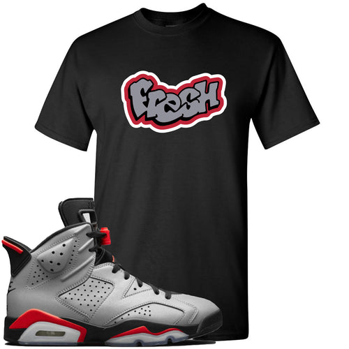 Air Jordan 6 Reflections of a Champion Sneaker Match Fresh Logo Black T-Shirt