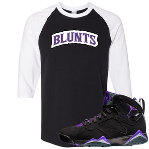 Air Jordan 7 Ray Allen Sneaker Hook Up Blunts Logo Black and White Raglan T-Shirt