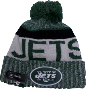 the new york jets sideline beanie is green, white and black
