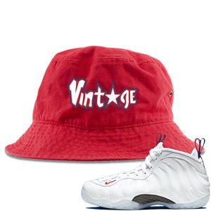 Nike WMNS Air Foamposite One USA Sneaker Hook Up Vintage Star Red Bucket Hat
