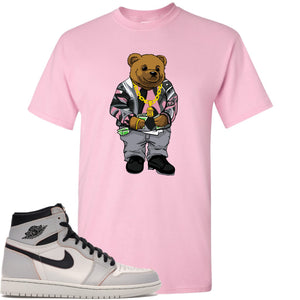 This pink t-shirt will match great with you Nike SB x Air Jordan 1 Retro High OG Light Bone shoes