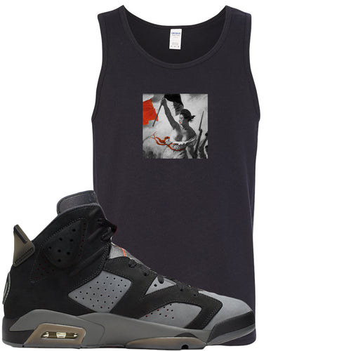 Air Jordan 6 PSG Sneaker Match Liberty Leading The People Black Mens Tank Top