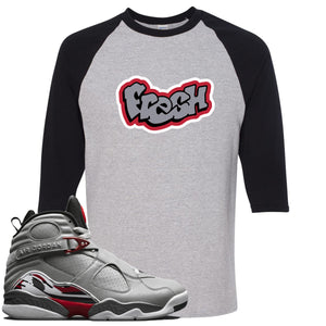 Air Jordan 8 Reflections of a Champion Sneaker Hook Up Fresh Logo Sports Gray and Black Raglan T-Shirt