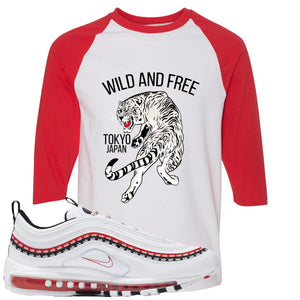 Nike Air Max 97 White University Red Sneaker Hook Up Tiger White and Red Raglan T-Shirt