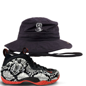 Foamposite One Snakeskin Sneaker Hook Up Cobra Snake Black Bucket Hat