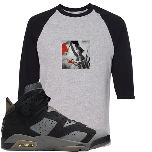 Air Jordan 6 PSG Sneaker Match Liberty Leading The People Sports Gray and Black Raglan T-Shirt