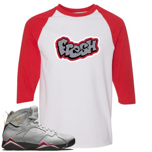 Air Jordan 7 Reflections of a Champion Sneaker Hook Up Fresh Logo White and Red Raglan T-Shirt