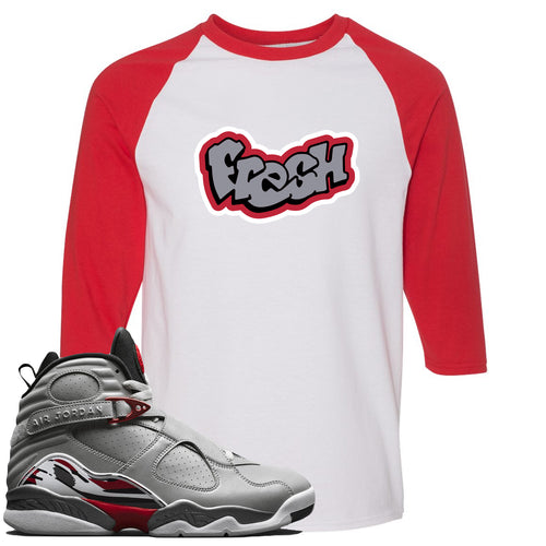 Air Jordan 8 Reflections of a Champion Sneaker Match Fresh Logo White and Red Raglan T-Shirt