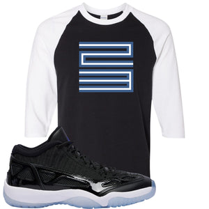 Air Jordan 11 Low IE Space Jam Sneaker Hook Up 23 Black and White Raglan T-Shirt