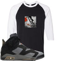 Air Jordan 6 PSG Sneaker Hook Up Liberty Leading The People Black and White Raglan T-Shirt