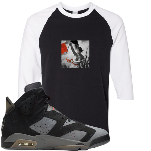 Air Jordan 6 PSG Sneaker Match Liberty Leading The People Black and White Raglan T-Shirt