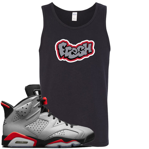 Air Jordan 6 Reflections of a Champion Sneaker Match Fresh Logo Black Mens Tank Top