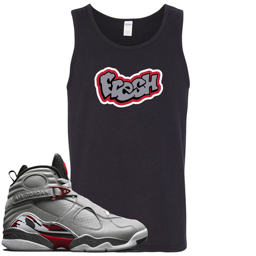 Air Jordan 8 Reflections of a Champion Sneaker Match Fresh Logo Black Mens Tank Top