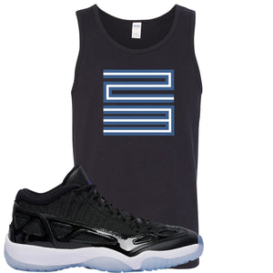 Air Jordan 11 Low IE Space Jam Sneaker Hook Up 23 Black Mens Tank Top