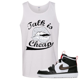 Air Jordan 1 High React White Black Sneaker Hook Up Talk is Cheap White Mens Tank Top