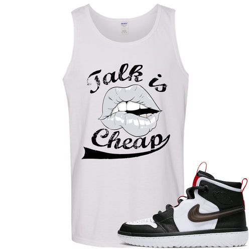 Air Jordan 1 High React White Black Sneaker Match Talk is Cheap White Mens Tank Top