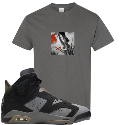 Air Jordan 6 PSG Sneaker Match Liberty Leading The People Charcoal Grey T-Shirt