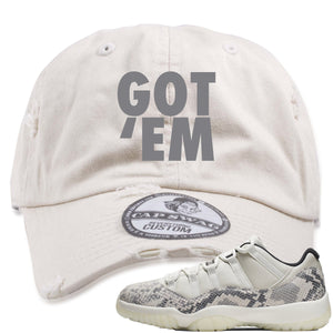 Air Jordan 11 Low Snakeskin Light Bone Sneaker Hook Up Got Em Stone Distressed Dad Hat
